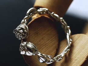 Roses Ring in Polished Silver: 6 / 51.5