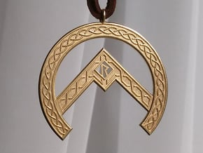 Rune Pendant in Natural Brass