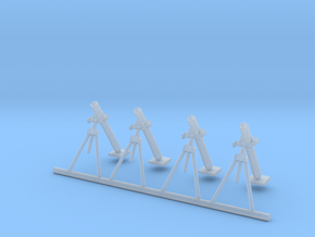80mm Mortar (4 pieces) scale 1/56 in Smooth Fine Detail Plastic