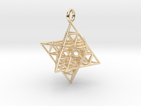 Star Tetrahedron Fractal 35mm in 14k Gold Plated Brass