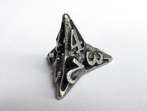 Pinwheel d4 in Polished Bronzed Silver Steel