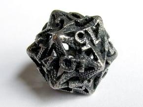 Pinwheel d20 in Polished Bronzed Silver Steel