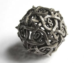 Interwoven Geometric Vines and Thorns D20 in Polished Bronzed Silver Steel