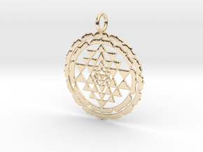 Super Accurate Sri Yantra Lotus 38mm and 48mm in 14k Gold Plated Brass: Medium