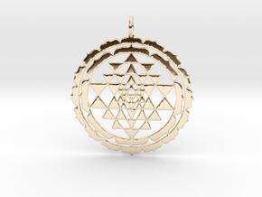 Sri Yantra Lotus 48mm in 14k Gold Plated Brass