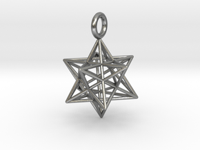 Stellated Dodecahedron 23mm in Natural Silver