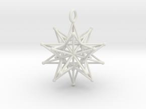 Stellated Icosahedron 27mm diameter in White Natural Versatile Plastic