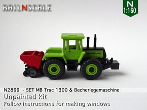 SET MB Trac 1300 & Becherlegemaschine (N 1:160) in Smooth Fine Detail Plastic