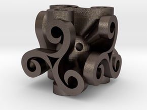 Triskell Cube in Polished Bronzed Silver Steel