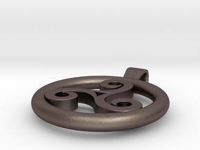 Triskell Positve Hole Pendant in Polished Bronzed Silver Steel