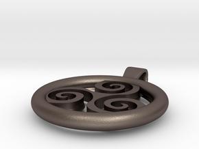 Big Triskell Positve Hole Pendant in Polished Bronzed Silver Steel