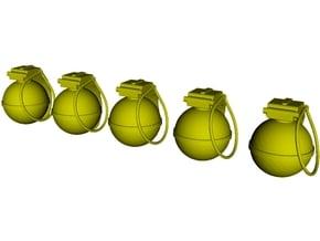 1/16 scale V-40 mini fragmentation grenades x 5 in Smooth Fine Detail Plastic