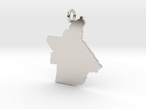 Butte County Pendant in Rhodium Plated Brass