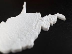 West Virginia Christmas Ornament in White Natural Versatile Plastic