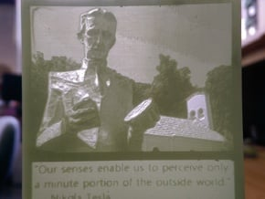 Nikola Tesla hanging lithophane Meme in White Processed Versatile Plastic