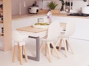 1:12 Kidschair v1 wooden legs 1 in White Natural Versatile Plastic