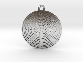 Chartres Labyrinth Pendant in Natural Silver