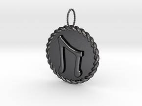 Nordic Rune Uruz Rope Pendant in Polished and Bronzed Black Steel