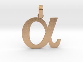 Alpha Sign Pendant Small in Natural Bronze (Interlocking Parts)