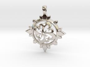Earth Design Pendant in Rhodium Plated Brass