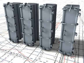 """1/96 Royal Navy 4.7"""" Ready Use Lockers (Tall) x4 in Smoothest Fine Detail Plastic"""