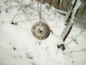 Celtic Shield Pendant in Natural Silver