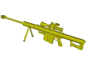 """1/24 scale Barret M-82A1 / M-107 0.50"""" rifle x 1 in Smooth Fine Detail Plastic"""