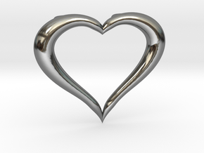 Love Heart Necklace in Fine Detail Polished Silver