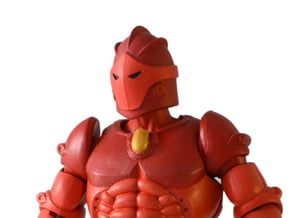 Red Knight Head in White Processed Versatile Plastic