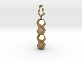 Dodecahedron DNA healing pendant in Polished Gold Steel