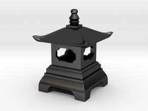 Japanese Pagoda Lantern Figure in Polished and Bronzed Black Steel