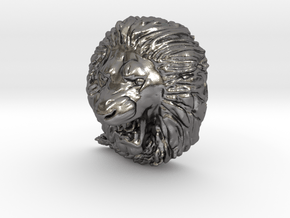 Angry Lion Pendant in Polished Nickel Steel