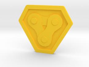 Bike Chain link  Badge in Yellow Processed Versatile Plastic