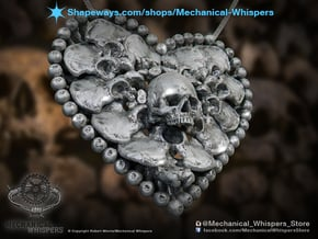 Heart Bone Pendant in Polished Nickel Steel