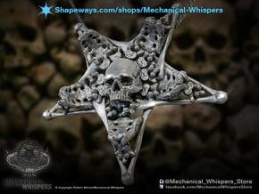 Inverted Pentagram Bone Pendant in Polished Nickel Steel
