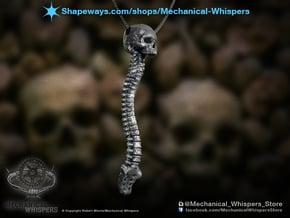 Skull Vertebrae Bone Pendant in Polished Nickel Steel