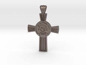 Firefighters Cross-2 in Polished Bronzed-Silver Steel