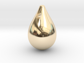 gold drop cabochon in 14K Yellow Gold