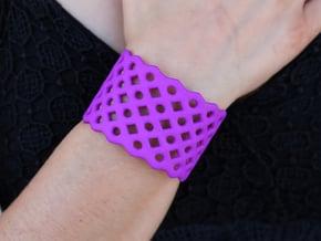 Circles & Squares Cuff (Size L)  in Purple Processed Versatile Plastic