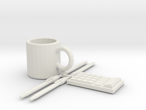 Coffee Mug, and Office Supplies in White Natural Versatile Plastic