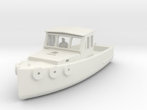 HO Scale Lobster Boat in White Natural Versatile Plastic