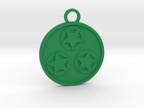Three of Pentacles in Green Processed Versatile Plastic