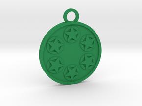 Six of Pentacles in Green Processed Versatile Plastic