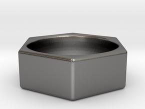 Hex Nut Ring in Polished Nickel Steel: 8 / 56.75