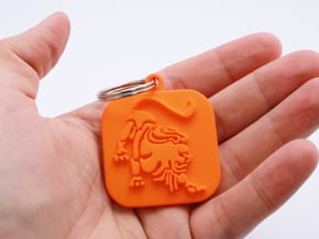 Keychain zodiac Lion (single color) in Orange Processed Versatile Plastic