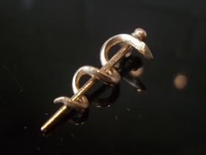 Snake rod pendant (medicine) in Natural Bronze