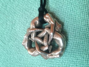 Borromean Rings Ingot - Naked Geometry in Polished Bronzed Silver Steel
