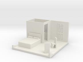 O Scale Bedroom Interior in White Natural Versatile Plastic