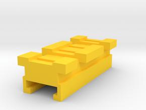 MicroShots Rail to Nerf Rail Adapter (2 Slots) in Yellow Processed Versatile Plastic