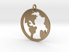 Globe - Necklace Pendant in Polished Gold Steel